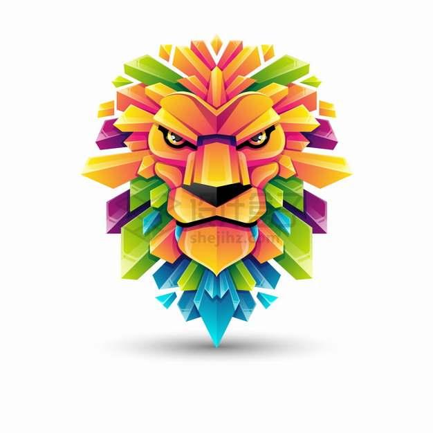 多彩色块组成的狮子logo设计png图片素材