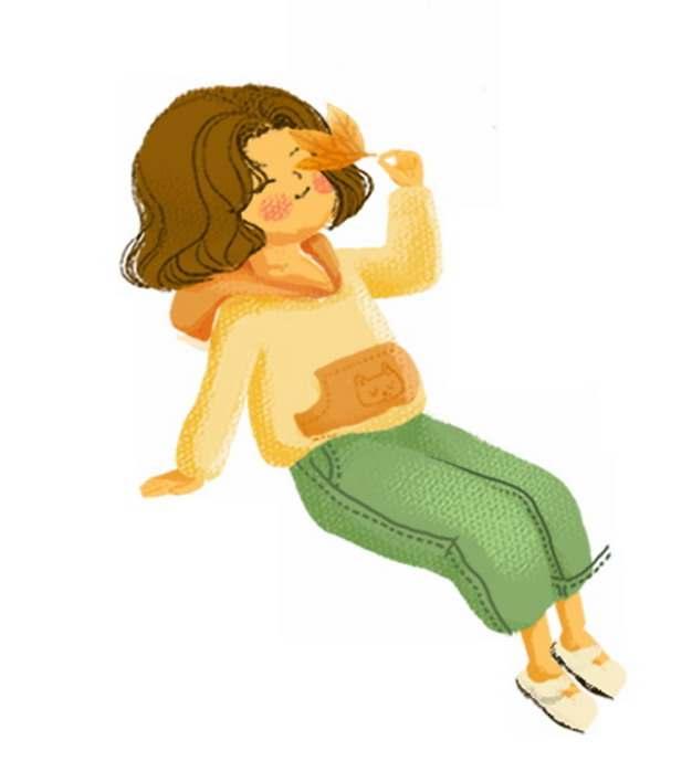 秋天卡通女孩拿着枫叶手绘插画461736png图片免抠素材