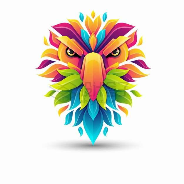 多彩色块组成的猫头鹰logo设计png图片素材