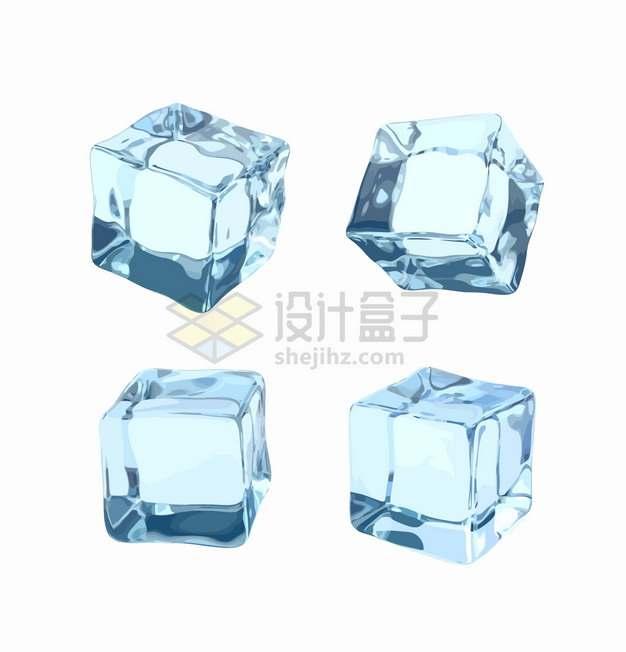 4款半透明的淡蓝色冰块立方体png图片素材