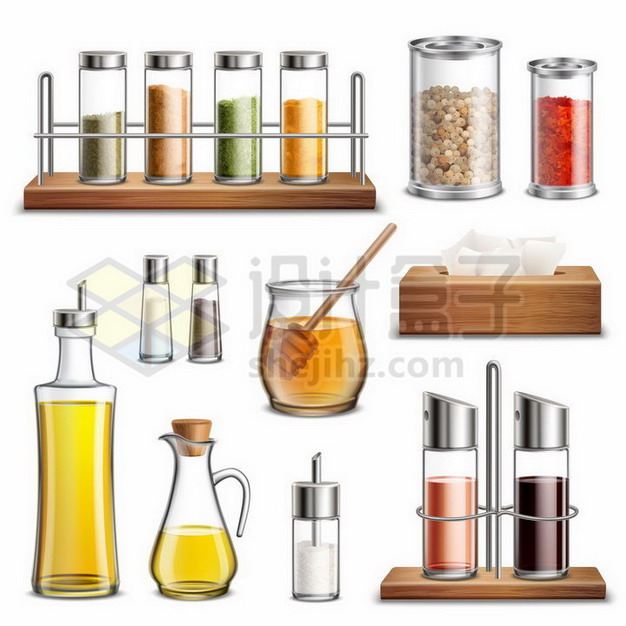 各种玻璃调料罐密封罐油壶调味瓶抽纸盒盐罐等厨房用品380122png矢量图片素材 生活素材-第1张