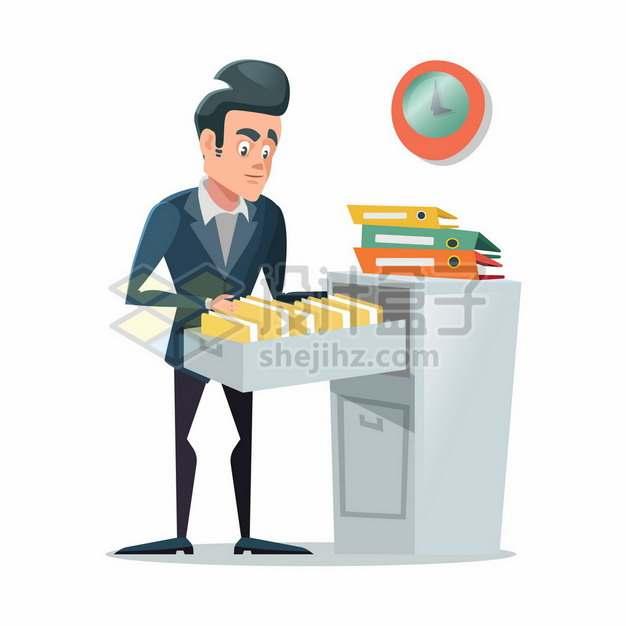 在文件柜中查看资料的卡通老板224926png矢量图片素材