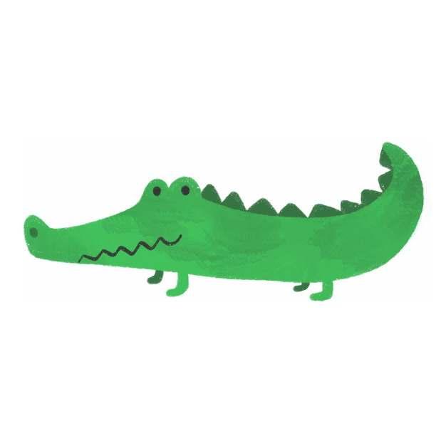 绿色卡通鳄鱼扬子鳄儿童手绘插画266916png图片免抠素材