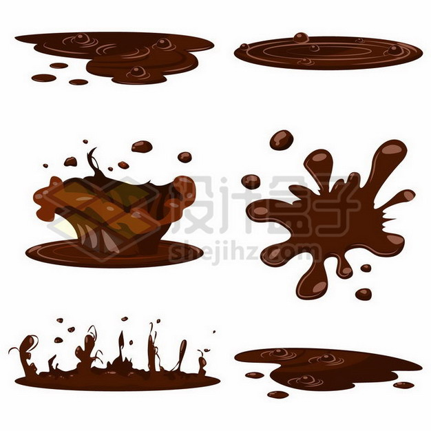 各种巧克力污渍沸腾冒泡的巧克力液体效果628360png矢量图片素材 效果元素-第1张