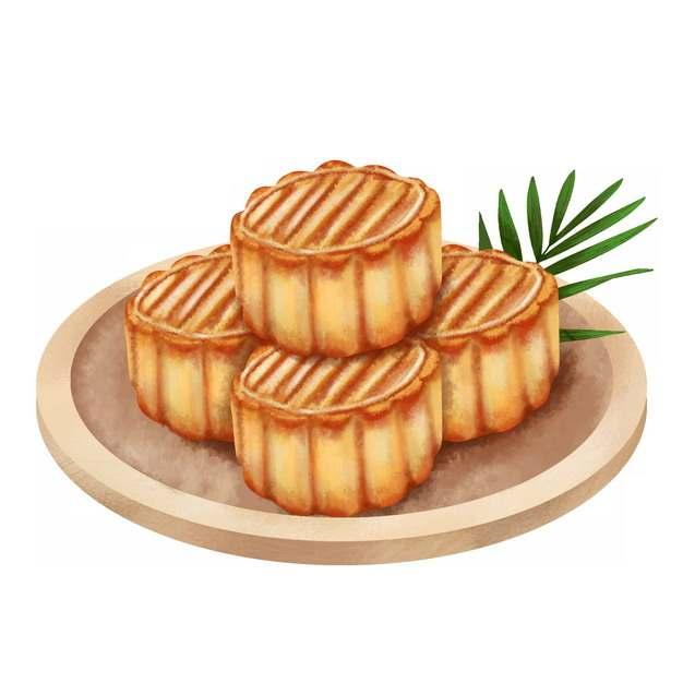 盘子里的月饼中秋节美食手绘插画816160免抠图片素材