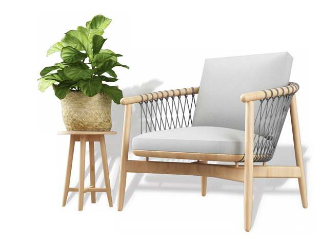 木制单人沙发靠枕和花盆架404246免抠图片素材