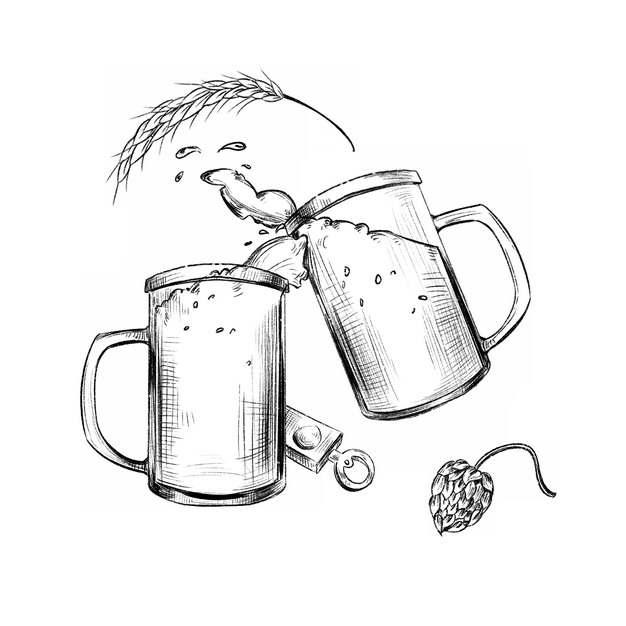 碰杯的啤酒杯手绘插画131707免抠图片素材
