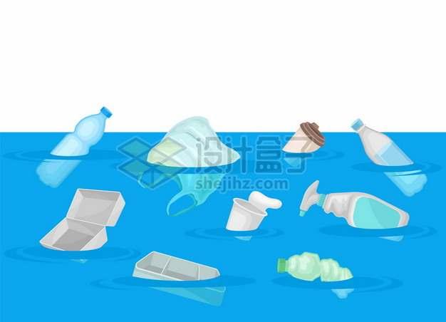 蓝色海洋上的塑料垃圾污染612986png矢量图片素材