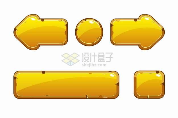 金色水晶按钮游戏方向键png图片素材