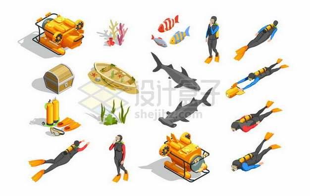 各种2.5D风格潜水器和潜水员227114png矢量图片素材