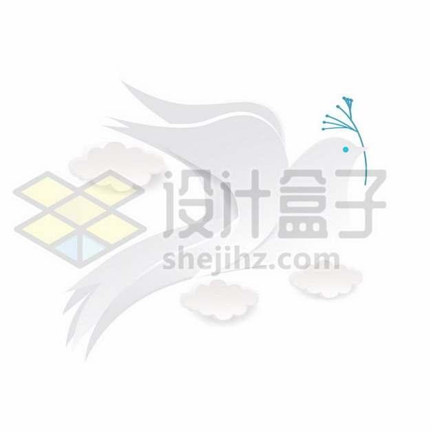 白色剪纸风格鸽子白鸽和平鸽258984免抠矢量图片素材