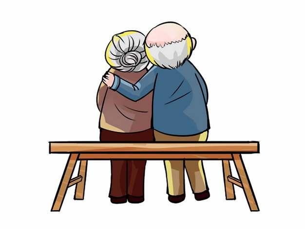 九九重阳节相互扶持的老爷爷老奶奶背影老人节敬老节手绘插画288303png图片免抠素材
