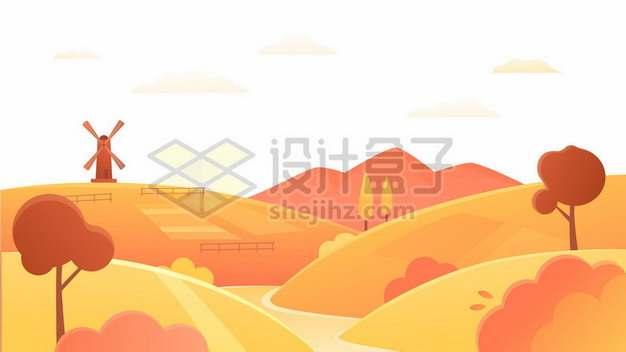秋天农村的田野丘陵山地760220png免抠图片素材