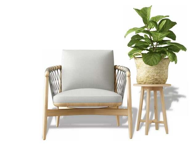 木制单人沙发靠枕和花盆架565166免抠图片素材