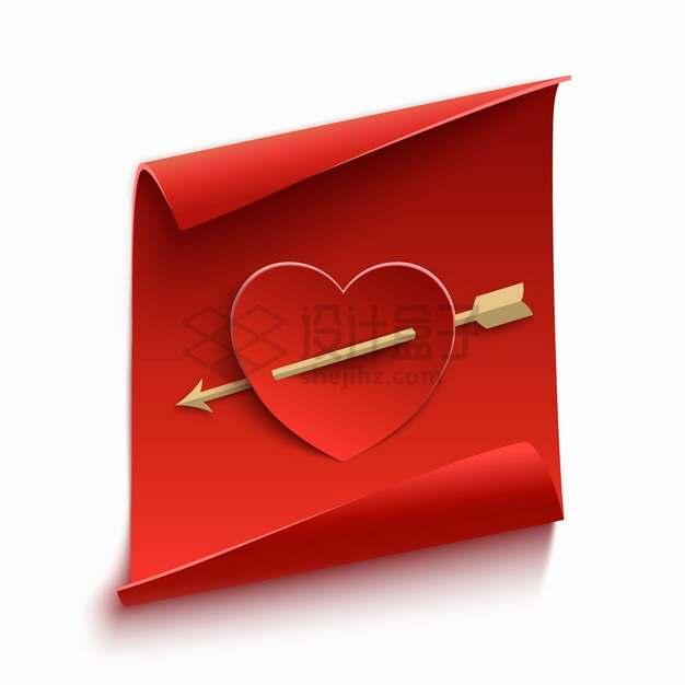 卷曲的3D红纸上的被箭射穿的红心情人节png图片素材