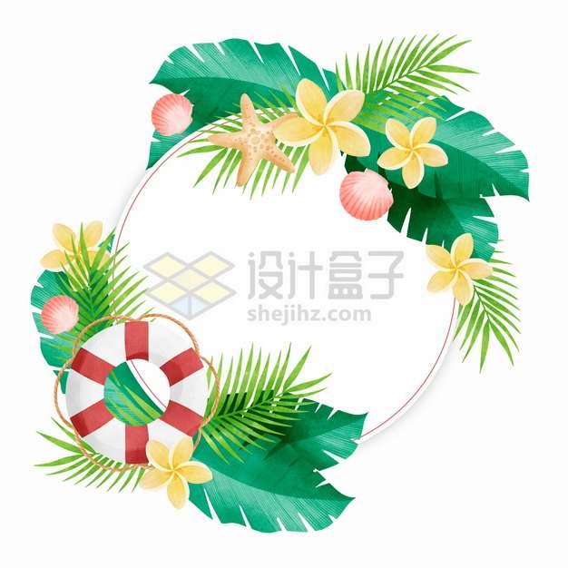 热带雨林花卉叶子组成的圆圈标题框文本框546781png图片素材