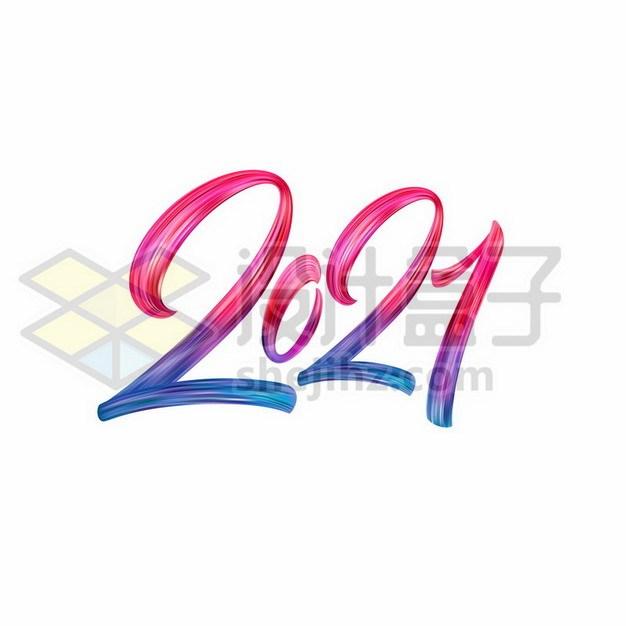 创意彩色渐变色风格2021年艺术字体244078免抠矢量图片素材 字体素材-第1张