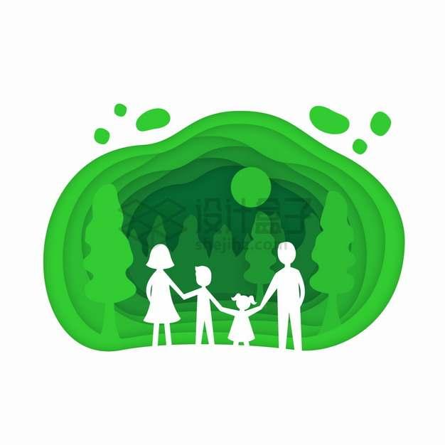 手牵手的一家四口在绿色的森林中剪纸叠加风格插画png图片素材