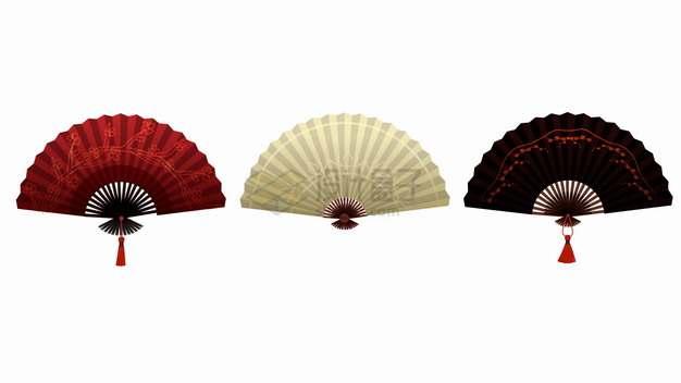 红色黄色黑色的扇子折扇png图片素材