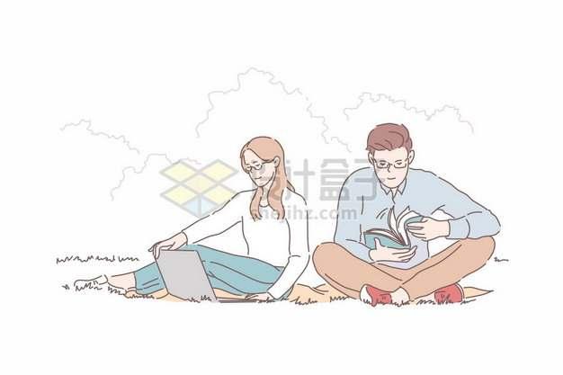 卡通情侣在草地上看书手绘插画511974png矢量图片素材