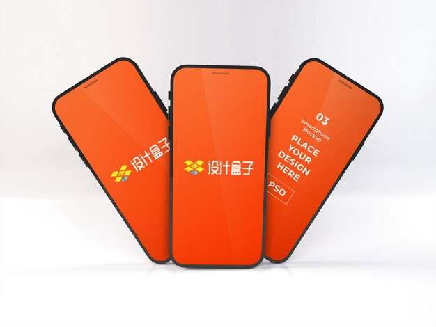 三款全面屏手机iPhone12手机显示样机952848图片素材