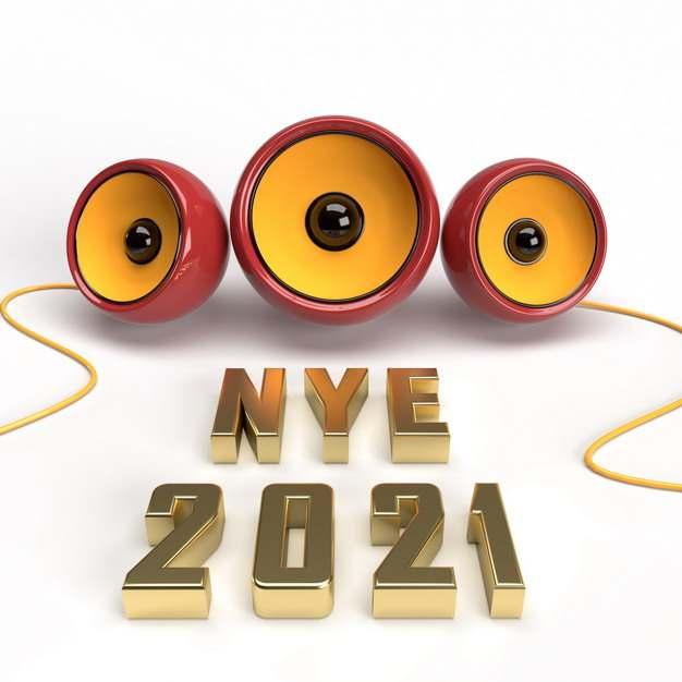 三个小音箱C4D风格金色金属色2021年立体字体705687免抠图片素材