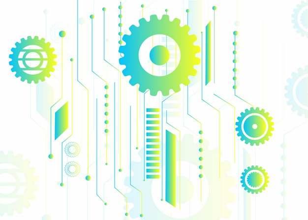 抽象绿色机械齿轮装饰图案202719AI矢量图片免抠素材