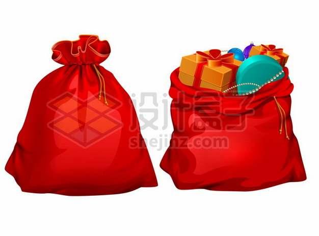 红色布袋子中装满了礼物圣诞礼物袋646026矢量图片免抠素材