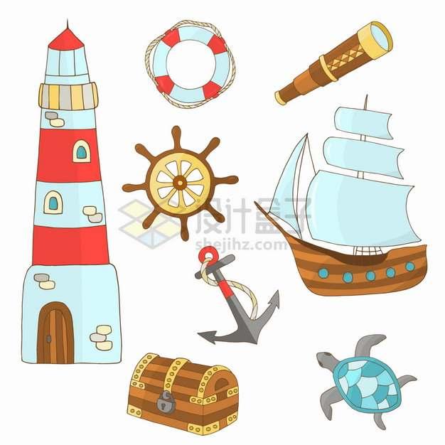卡通灯塔救生圈方向舵帆船宝物箱等手绘插画png图片素材