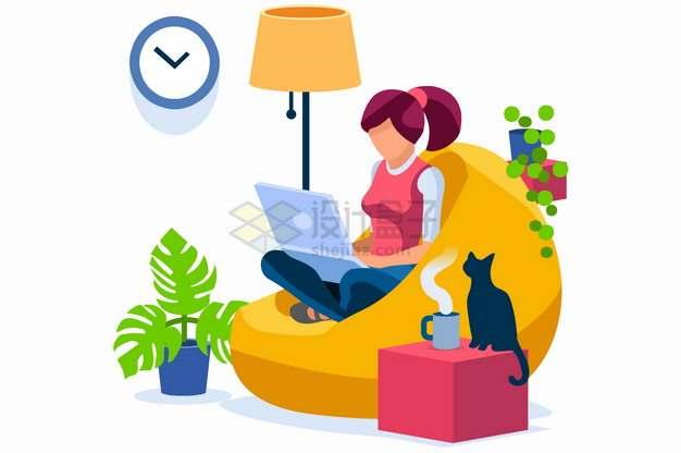 坐在懒人沙发上玩电脑的女孩扁平插画png图片素材