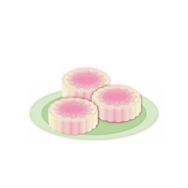 盘子中的粉色冰皮月饼638547免抠图片素材