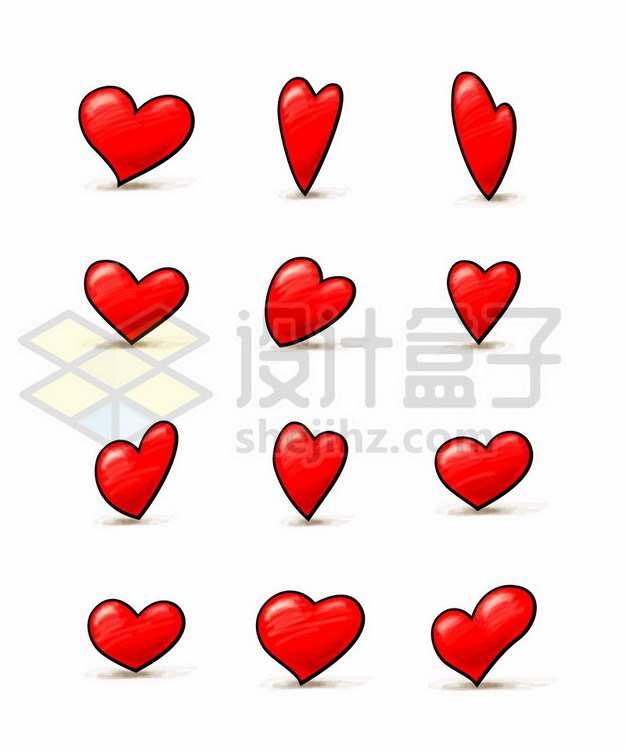 12款可爱的卡通红心图案209470矢量图片免抠素材