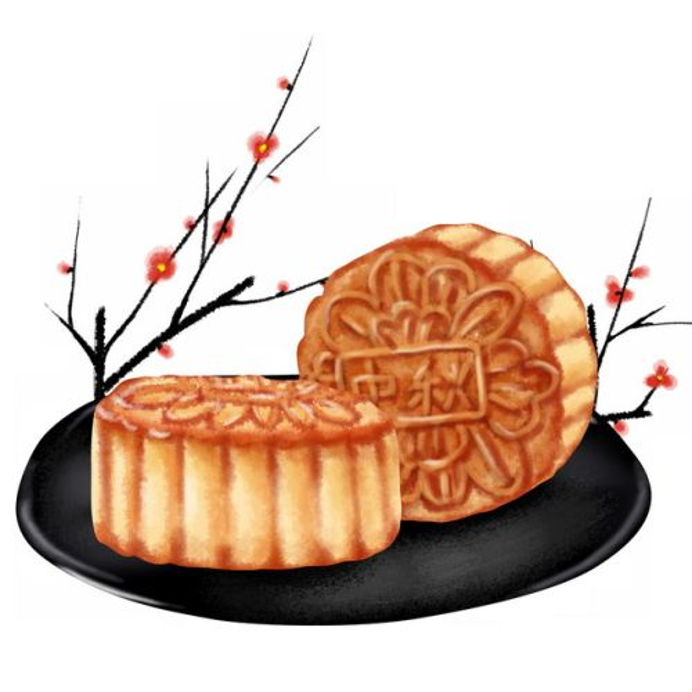 盘子里的月饼中秋节美食手绘插画183744免抠图片素材
