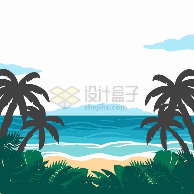 蓝色大海椰子树剪影海滩风景手绘插画png图片素材 生物自然-第1张