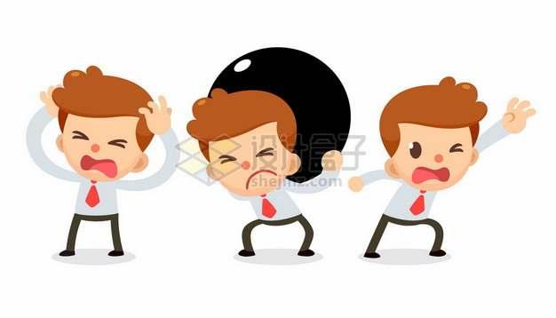 卡通男人承受着很大压力崩溃插画643542png矢量图片素材
