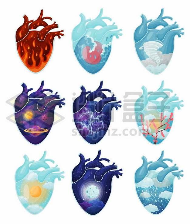 9款抽象创意心脏插画459711免抠矢量图片素材