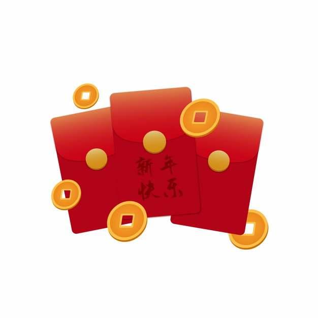 金币和新年快乐春节红包318439AI矢量图片素材