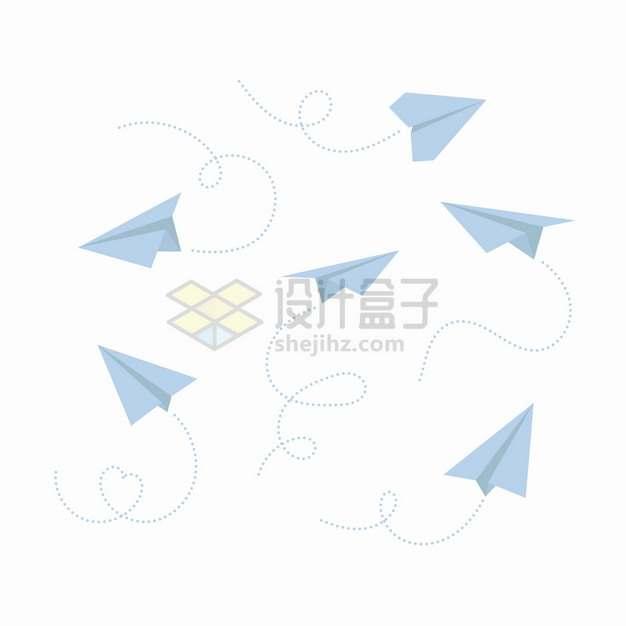 各种带虚线的淡蓝色纸飞机png图片素材