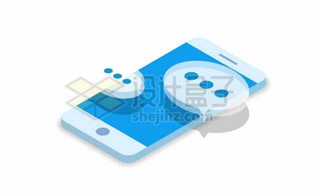 2.5D风格蓝色手机上的对话符号标志735510矢量图片免抠素材
