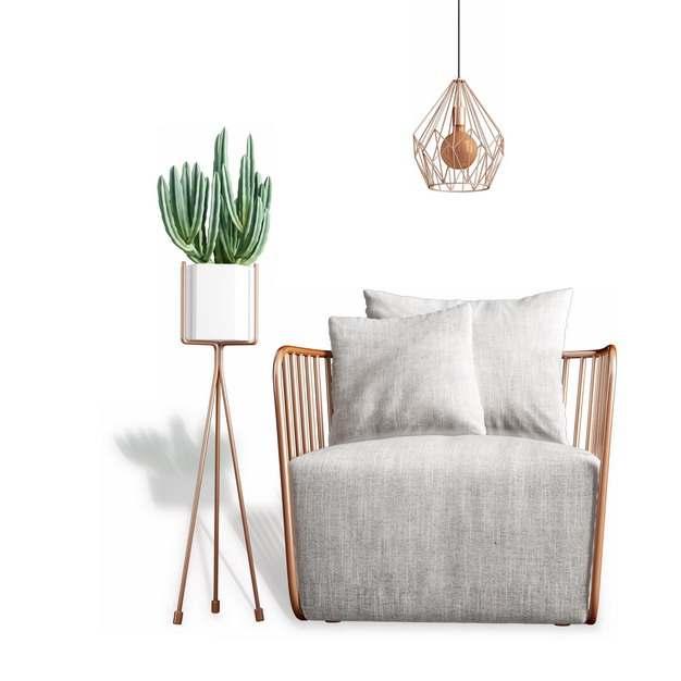 木制单人沙发靠枕和花盆架422784免抠图片素材