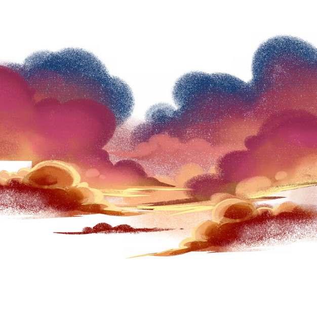 卡通漫画风格晚霞火烧云日出云层风景图879275png免抠图片素材