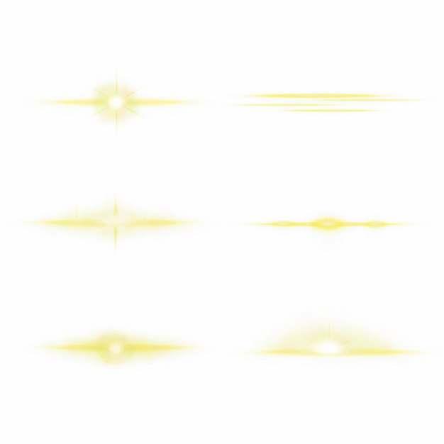 6款黄色光芒效果发光感光效果装饰959951PSD免抠图片素材