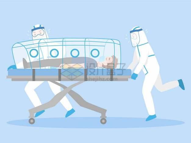 卡通医护人员推着病床上的新型冠状病毒肺炎病人png图片素材