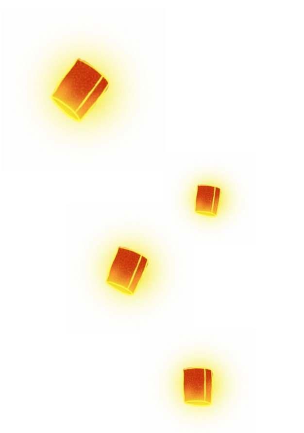漂浮的孔明灯手绘插画495550png图片免抠素材