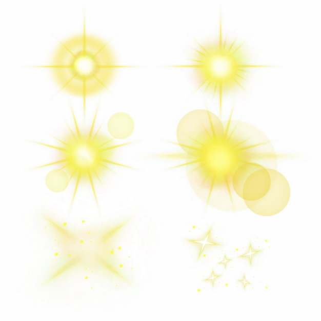 6款黄色光芒效果发光感光效果光晕装饰504452PSD免抠图片素材