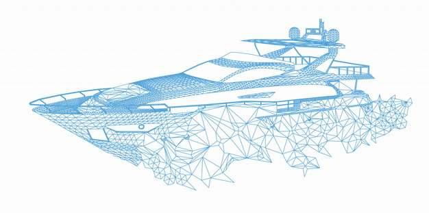 蓝色线条多边形组成的快艇275245png图片免抠素材