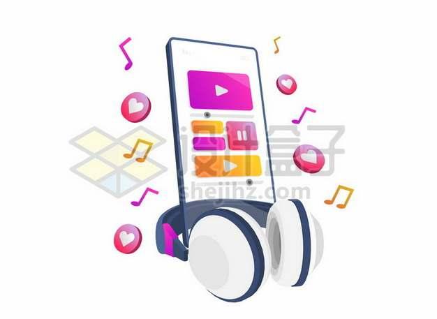 卡通手机上跳出来的音乐符号和耳机613187免抠矢量图片素材