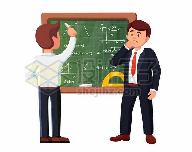 卡通老师和卡通学生在黑板上做数学题995223矢量图片免抠素材