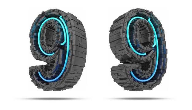 C4D风格黑色工业风3D立体数字九9艺术字体612671免抠图片素材