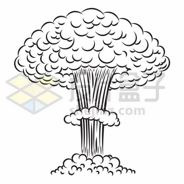 爆炸产生的蘑菇云漫画插画663349免抠矢量图片素材